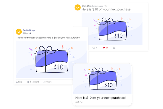Custom branded referral messages for social sharing