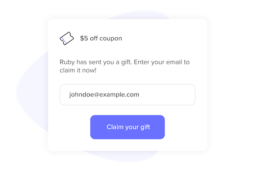 Referral recipient claiming a reward interface
